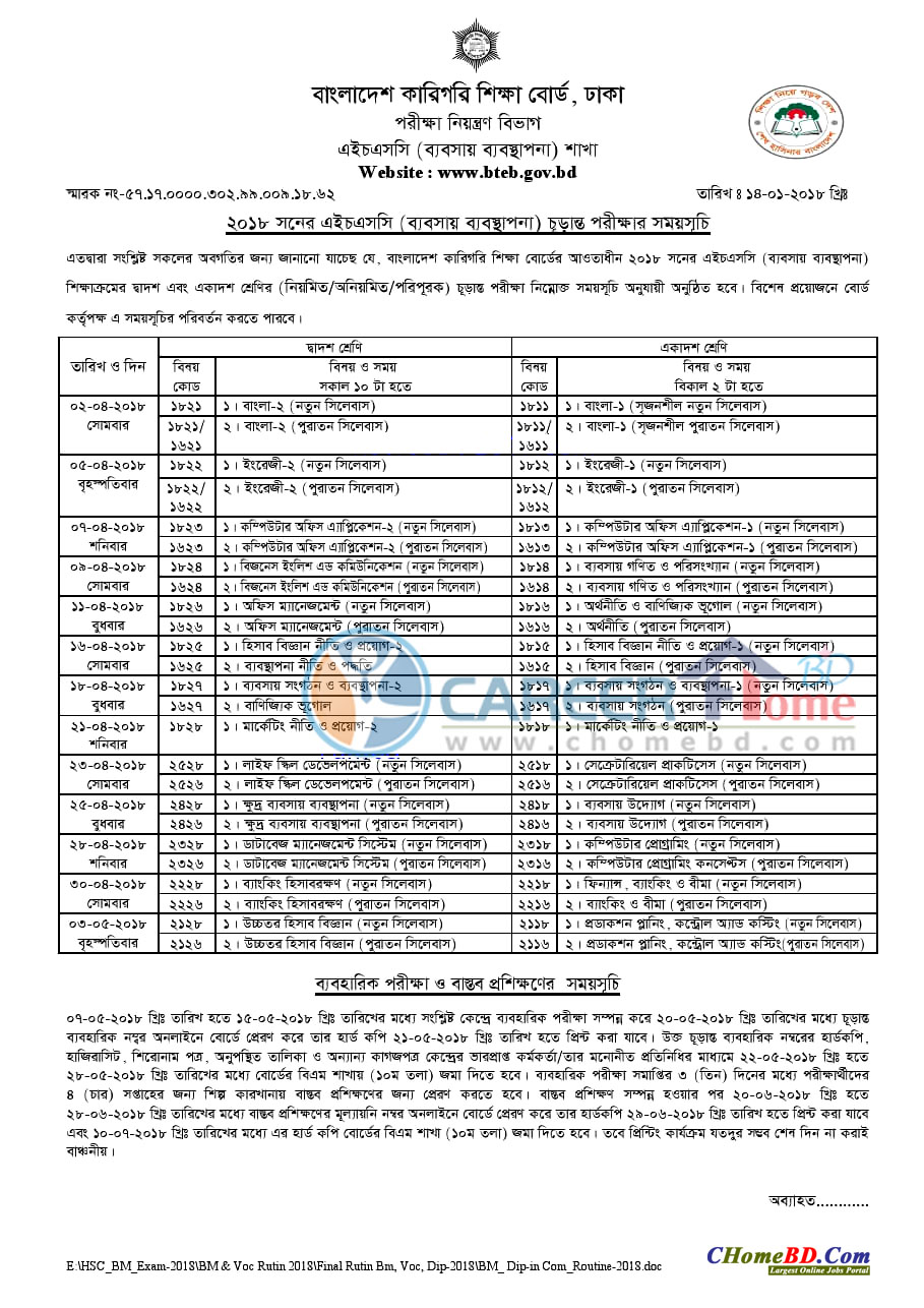 HSC BM Exam Routine 2018