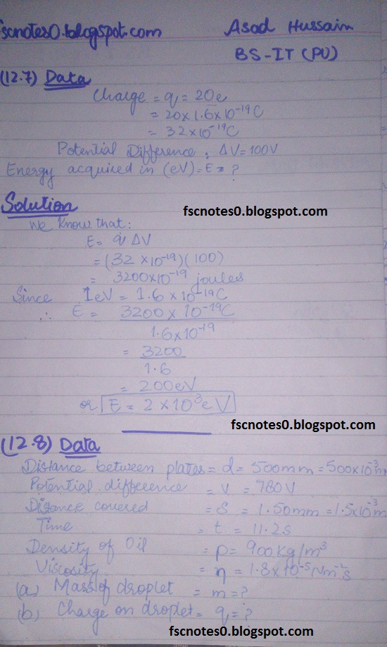 F.Sc ICS Notes: Physics XII: Chapter 12 Electrostatics Numerical Problems by Asad Hussain 7