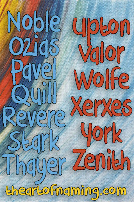 The Art of Naming - noble ozias pavel quill revere stark thayer upton valor wolfe xerxes york zenith