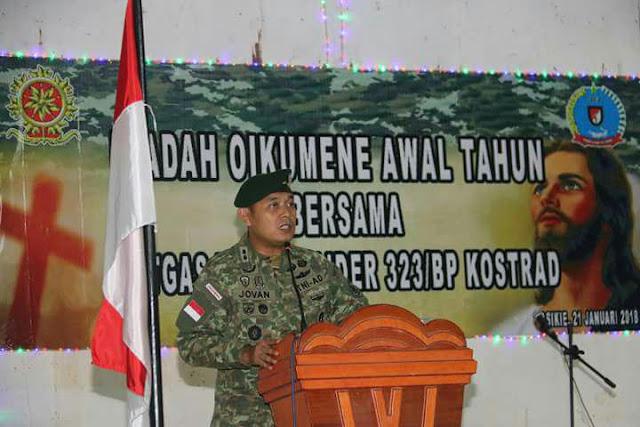 Satgas Yonif Raider 323 Kostrad Gelar Ibadah Oikumene di Distrik Jair