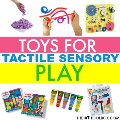 Try these toys to improve tactile sensory awareness and address tactile defensiveness or to use in sensory play experiences with kids to improve fine motor skills, eye-hand coordination, through tactile sensory play!