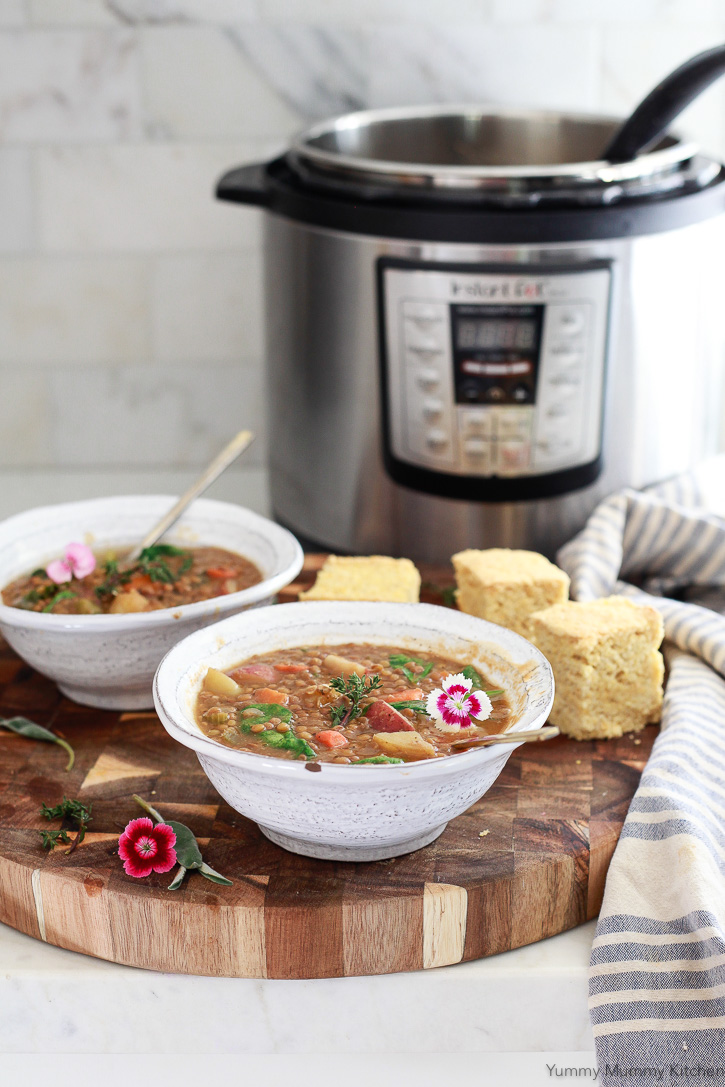 This delicious and healthy vegan lentil soup is so easy to make in the Instant Pot! What a great healthy vegan dinner!