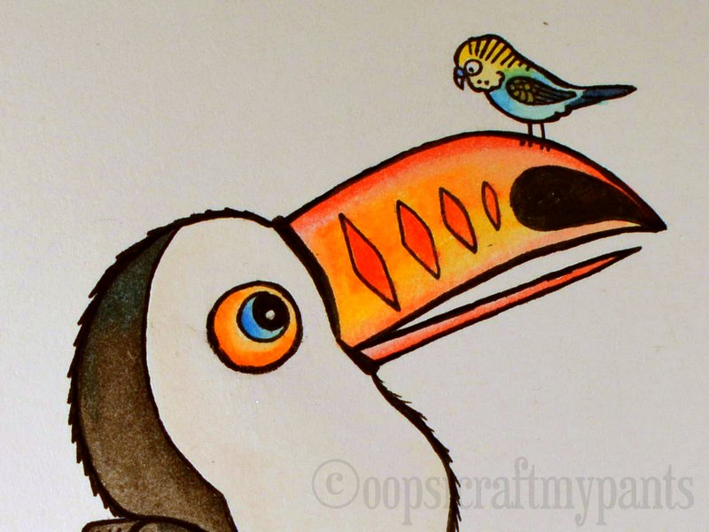 Oops, I Craft My Pants: Toucan and Budgie Watercolor Painting