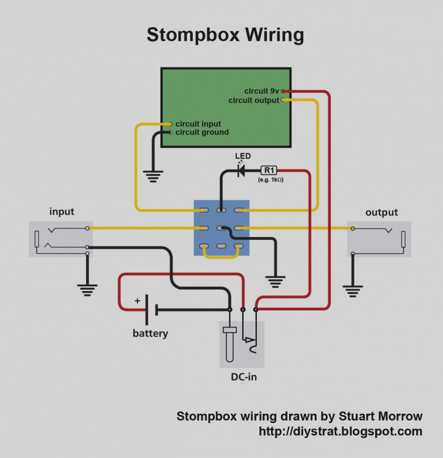 Stompbox Wiring Diagram w/ LED and 3PDT footswitch