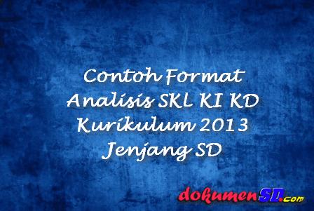 Contoh Format Analisis SKL KI KD Kurikulum 2013 Jenjang SD