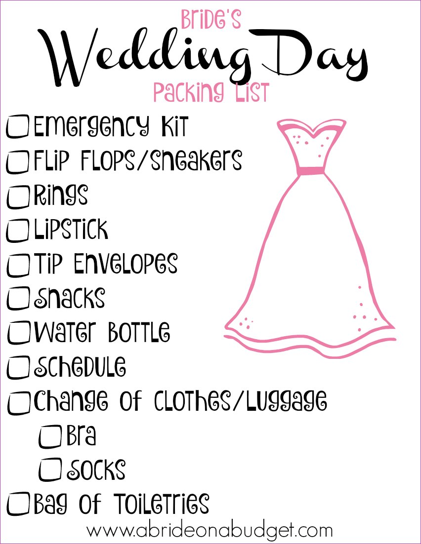 Bride S Wedding Day Ng List