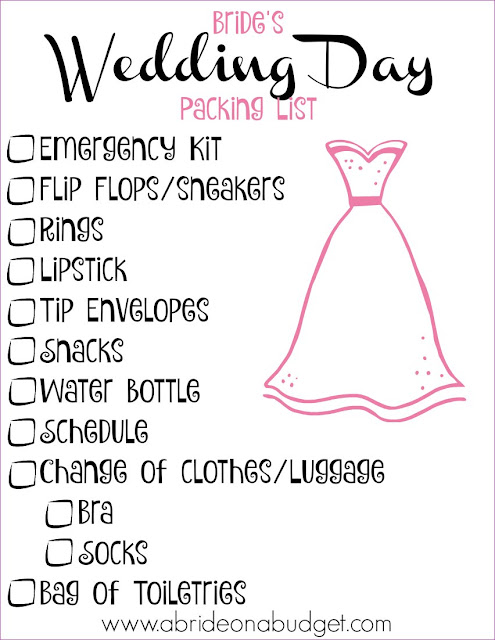 Don't forget anything on your wedding day when you print this Bride's Wedding Day Packing List from www.abrideonabudget.com. It's the perfect last-minute wedding day checklist.