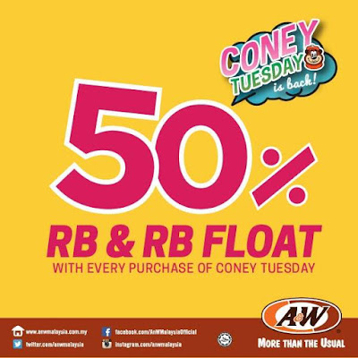 A&W Malaysia Coney Tuesday Root Beer Float RB Half Price Promo