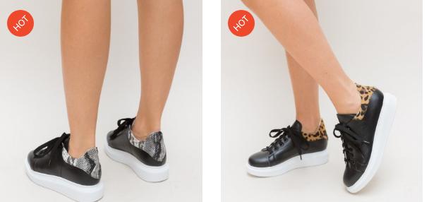 Adidasi dama negri cu talpa alba si imprimeu in spate ieftini