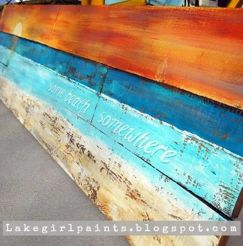 beach art on wood DIY