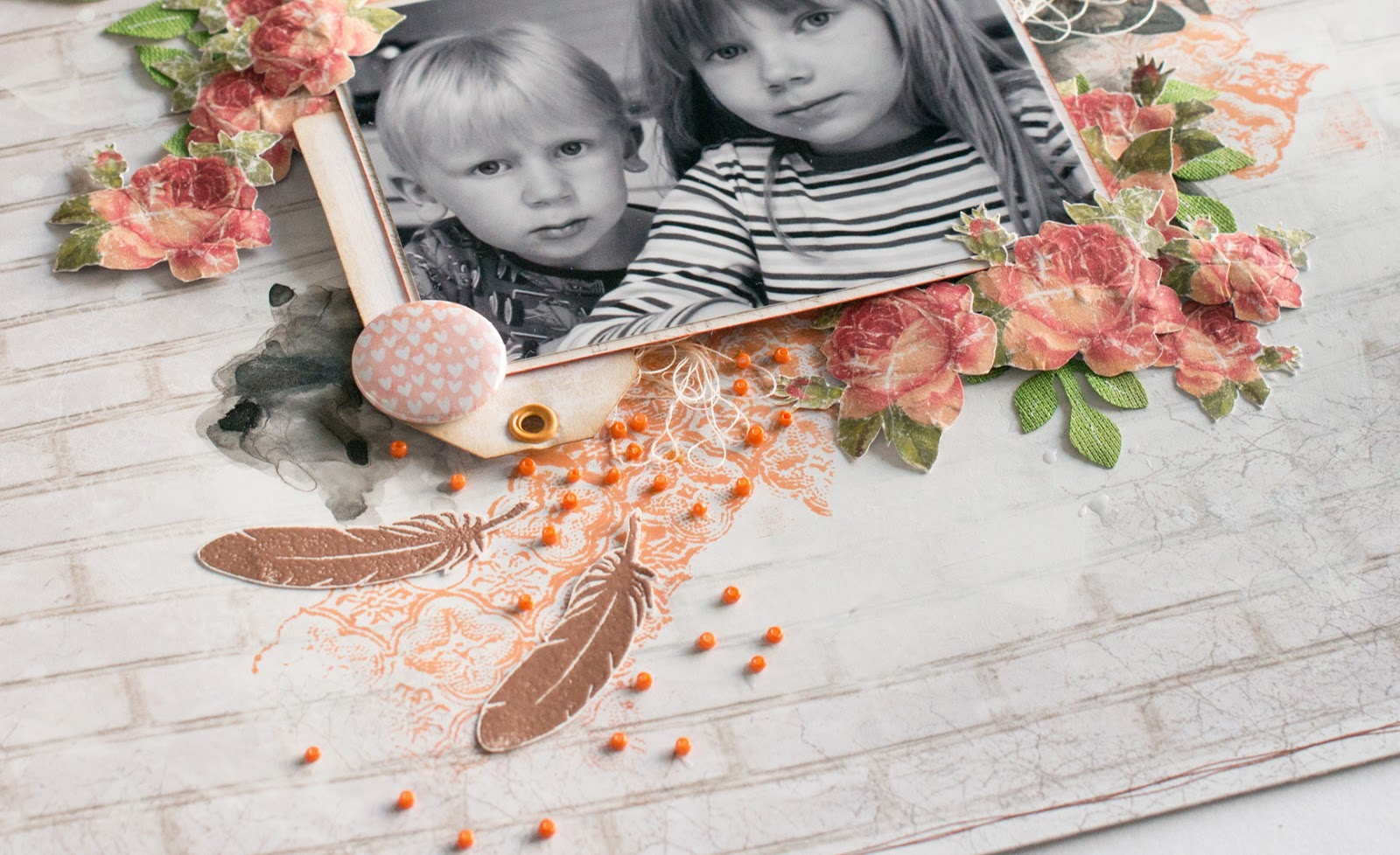 Scrapbook layout, close-up
