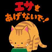 「エサをあげないで」のイラスト(猫)