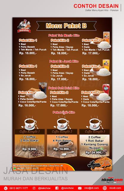 List / Daftar / Buku Menu Makanan Ayam Kito