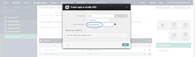 Zmień wpis w strefie DNS.