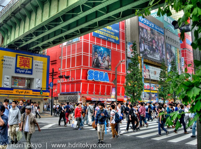 a crosswalk under the viaduct in Akihabara electric town. many people walk across the street.
