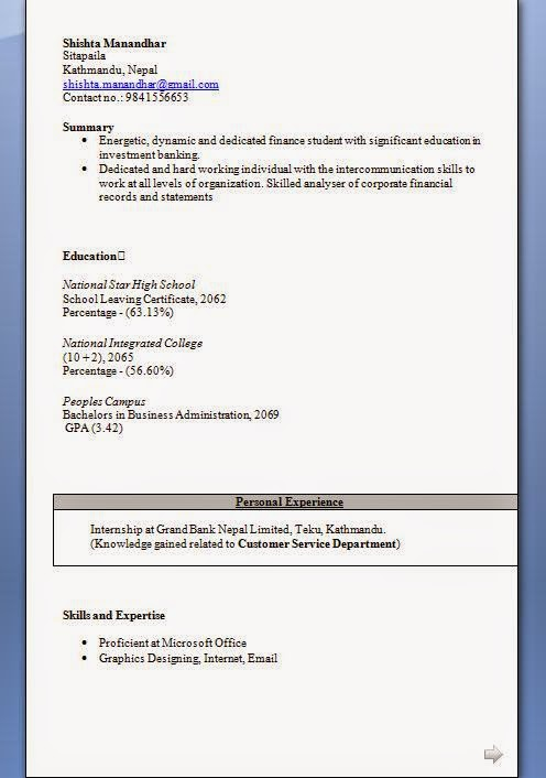 bba resume format for freshers
