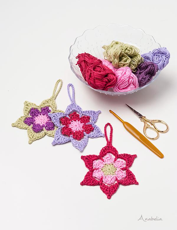 Crochet Christmas Star ornament pattern, Anabelia Craft Design