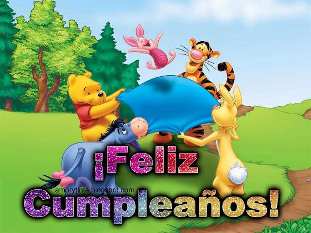 Imágenes animadas de Cumpleaños, y gif con frases de feliz cumpleaños con pooh