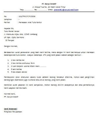 Contoh Surat Pesanan Barang (Order)