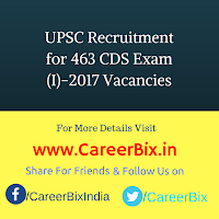 UPSC Recruitment for 463 CDS Exam (I)-2017 Vacancies