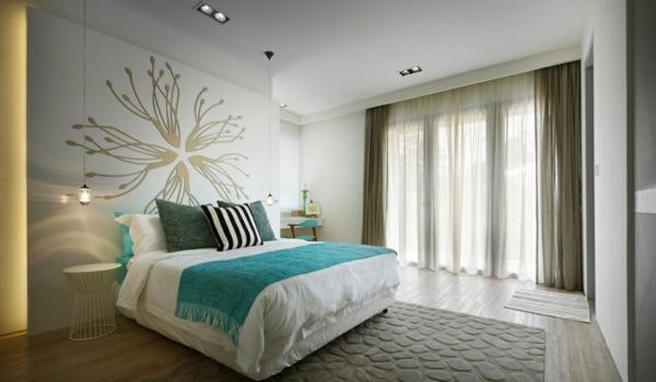 Dormitorios en marr n y turquesa dormitorios colores y - Tenda per camera da letto moderna ...