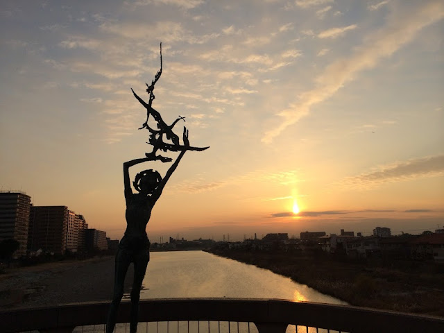 宝塚大橋からの夕日