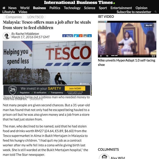 Beri Kerja Kepada Pencuri, Tesco Bukit Mertajam Dapat Perhatian Dunia
