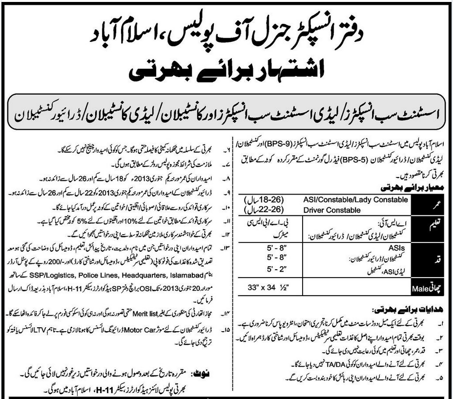United Nations Peacekeeping Missions: JOBS IN ISLAMABAD POLICE