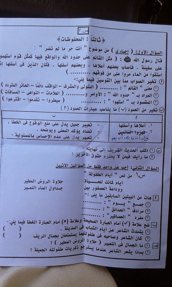 امتحان عربى الصف السادس أخر العام 2015 11138664_81346220206