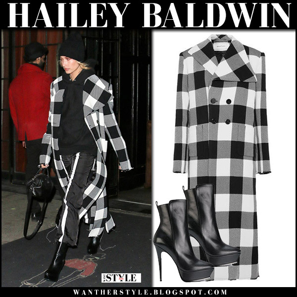 Hailey Baldwin in checked black and white coat marques's almeida street fashion november 20 celebrity