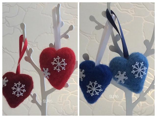 sydän neulahuovutus koriste joulu DIY