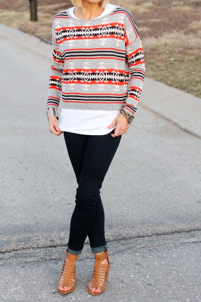 Aztec sweater, dark denim, gladiator sandals