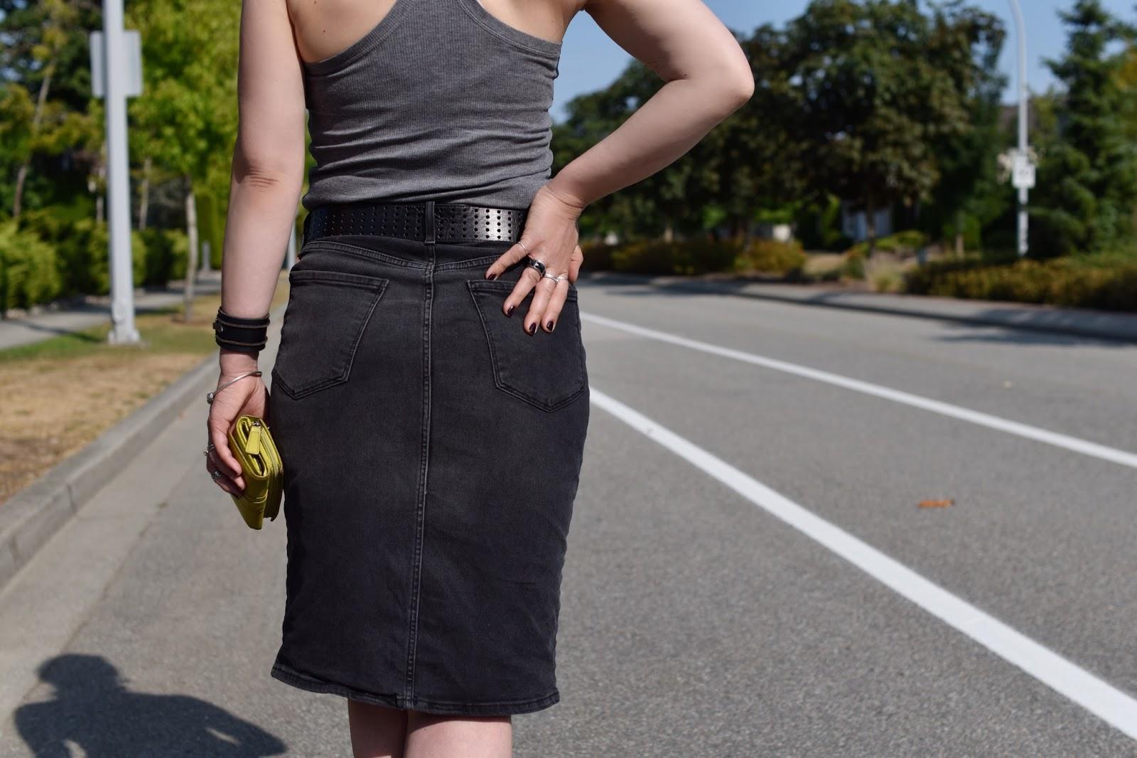 Monika Faulkner outfit inspiration - grey racerback tank top, black denim pencil skirt