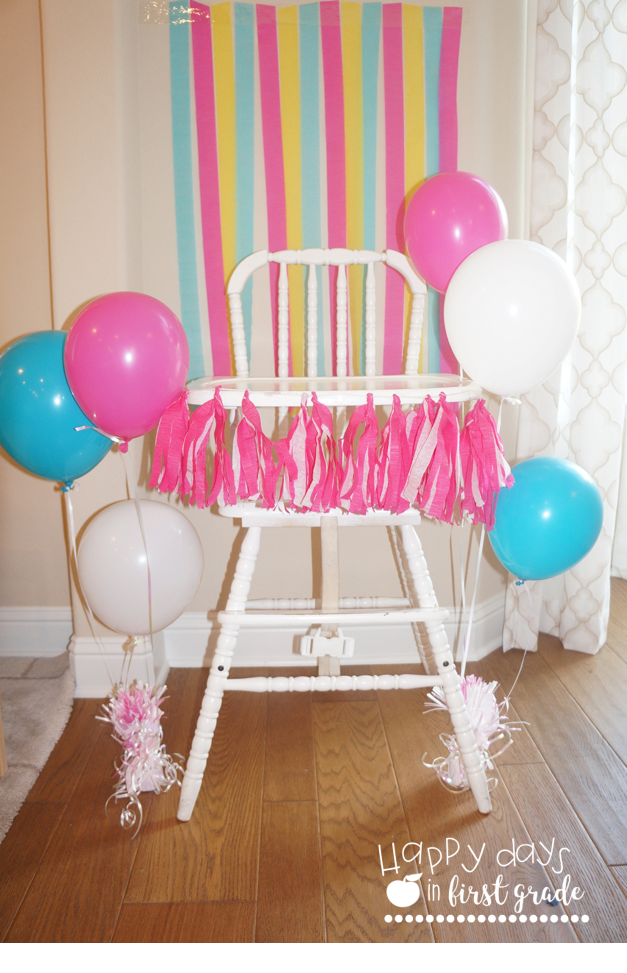 For Her Cake Table I Decorated The Background With Matching Yellow Pink And Aqua Streamers In Alternating Heights Easiest Way To Hang That