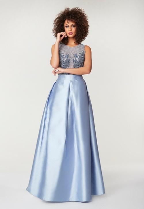 vestido longo azul serenity