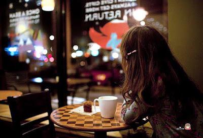 cute sad girl dp image at cafe