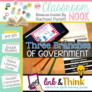 Check out this google classroom compatible digital learning guide for teaching the three branches of goverment - perfect for grades 3-5