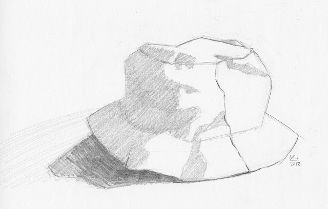 Daily Art 01-01-18 still life sketch in graphite number 90 - summer hat
