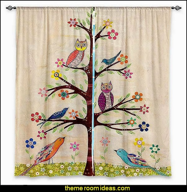Window Curtains Unlined from DiaNoche Designs Owl Bird Tree 2