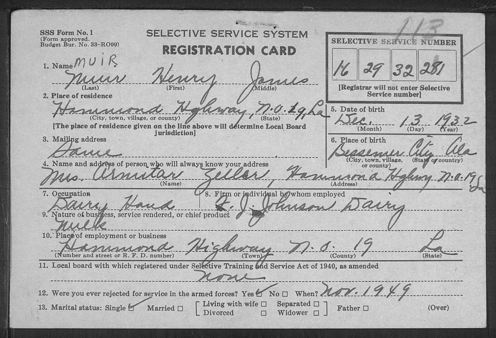 The Robert Muir Family Henry James Muir Jr Selective Service System Registration Card