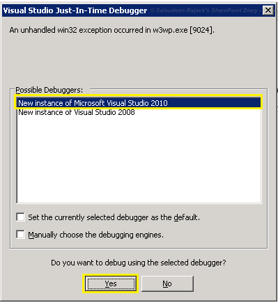 Get Rid of Visual Studio Just-In-Time Debugger Popup