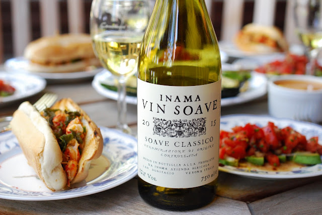 Inama Soave Classico with Brown Butter and Herb Crayfish Rolls, Photo by Greg Hudson
