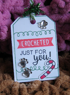 Christmas Crocheted Just For You tag by Crafty Math Chick   Tag Sampler Stamp Set, Tags Times Two die set, Ornamental Newton stamp & die sets by Newton's Nook Designs