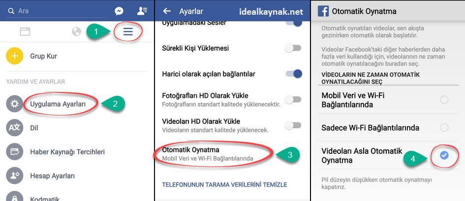Facebook mobil uygulamasıiçin otomatik video oynatmayı kapatma