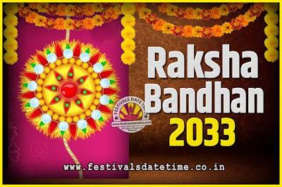 2033 Raksha Bandhan Date and Time, 2033 Raksha Bandhan Calendar