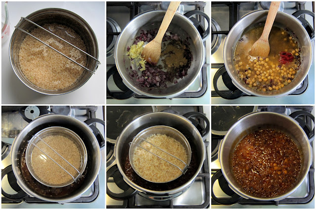 fagor pressure cooker with one pot meal of chickpea curry and brown rice step-by-step photos