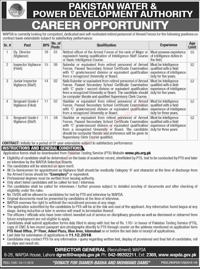 In #WAPDA -  Water and Power Development Authority  - Apply by 11 December 2018