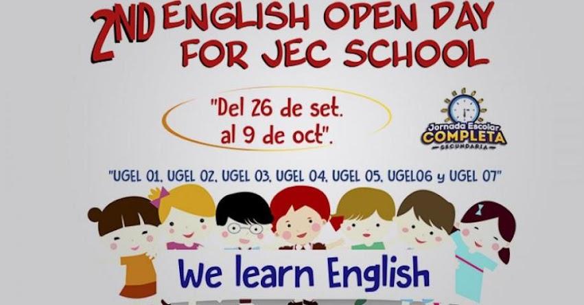 DRELM convoca al «2nd English Open Day for JEC School» www.drelm.gob.pe