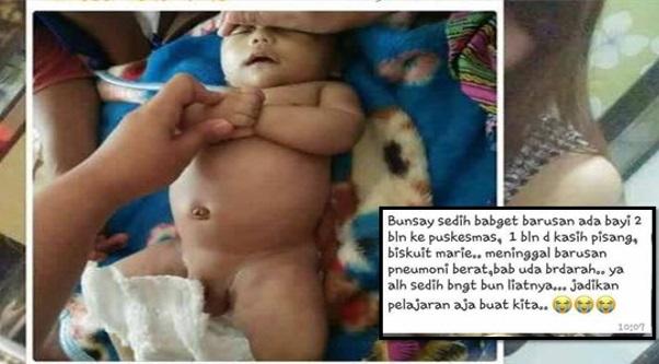 Bayi 2 bulan maut diberi makan pisang & biskut