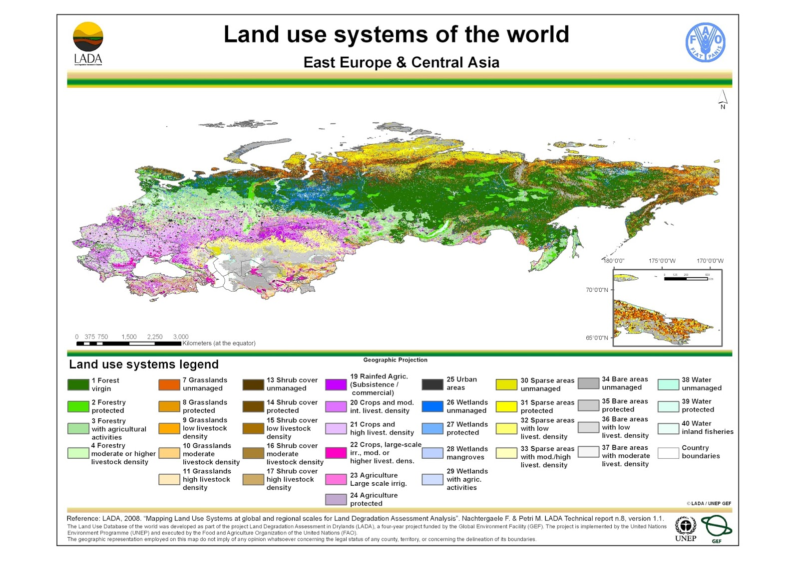 East Europe: Land use map